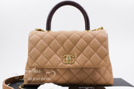 CHANEL Beige Caviar/ Lizard Mini Coco Handle Gold Hw #24215239 *New