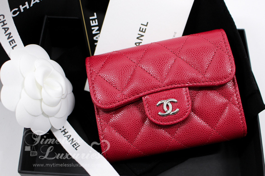 939b9cb5ea13 CHANEL 18B Raspberry Pink Caviar XL Card Holder Back Pocket #26xxxxxx *New  - Timeless Luxuries