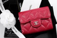 CHANEL 18B Raspberry Pink Caviar XL Card Holder Back Pocket #26xxxxxx *New