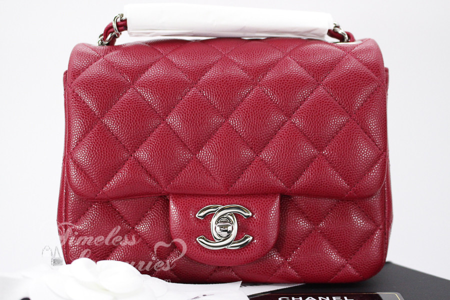 d964a889c4aa CHANEL 18B Raspberry Pink Caviar Square Mini Flap Bag Silver Hw #26xxxxxx  *New - Timeless Luxuries