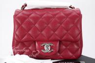 CHANEL 18B Raspberry Pink Caviar Square Mini Flap Bag Silver Hw #26xxxxxx *New