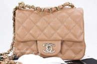 CHANEL 18S Pearly Beige Caviar Square Mini Light Gold Hw #25xxxxxx *New