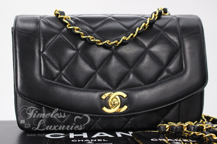 4ad86bf7f5 CHANEL Black Lambskin  Vintage Chic  Diana Flap Bag Gold Hw  4007209 -  Timeless Luxuries