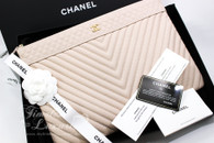 c5799070d37c CHANEL VIP Exclusive Beige Clair Chevron Caviar O-Case Zip Pouch  24xxxxxx   New