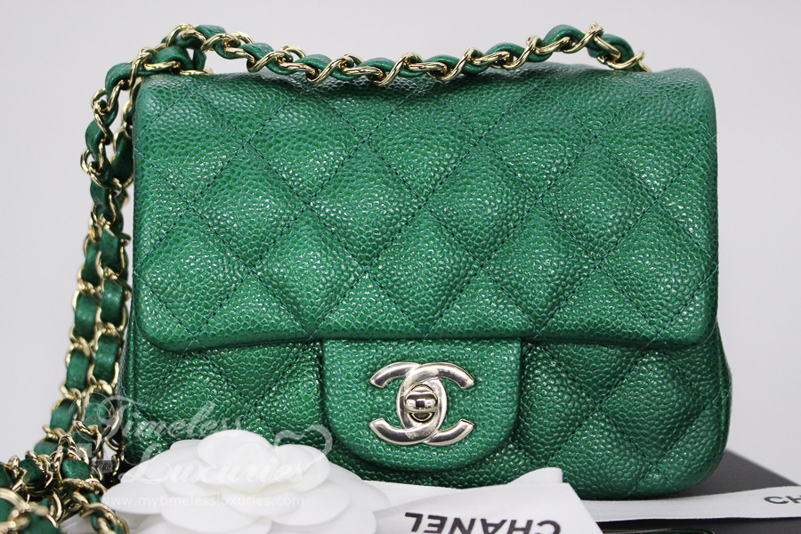 a4929acff705 CHANEL 18S Emerald Green Caviar Square Mini Light Gold Hw  25xxxxxx  New - Timeless  Luxuries