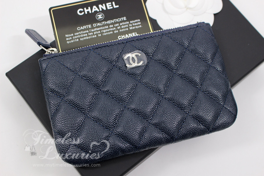 e634b83d51a4 CHANEL 18B Navy Blue Caviar Mini O-Case Pouch  26381133  New - Timeless  Luxuries