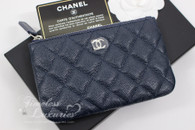 CHANEL 18B Navy Blue Caviar Mini O-Case Pouch #26381133 *New