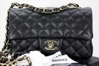 CHANEL 18S Black Caviar Rectangle Mini Light Gold Hw #25850910 *New
