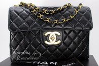 CHANEL Black Lambskin Vintage Jumbo Classic Flap Bag Gold Hw #4827270