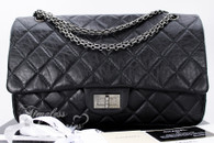 CHANEL Black Aged Calf 2.55 Reissue 227 Ruthenium Hw #15624745