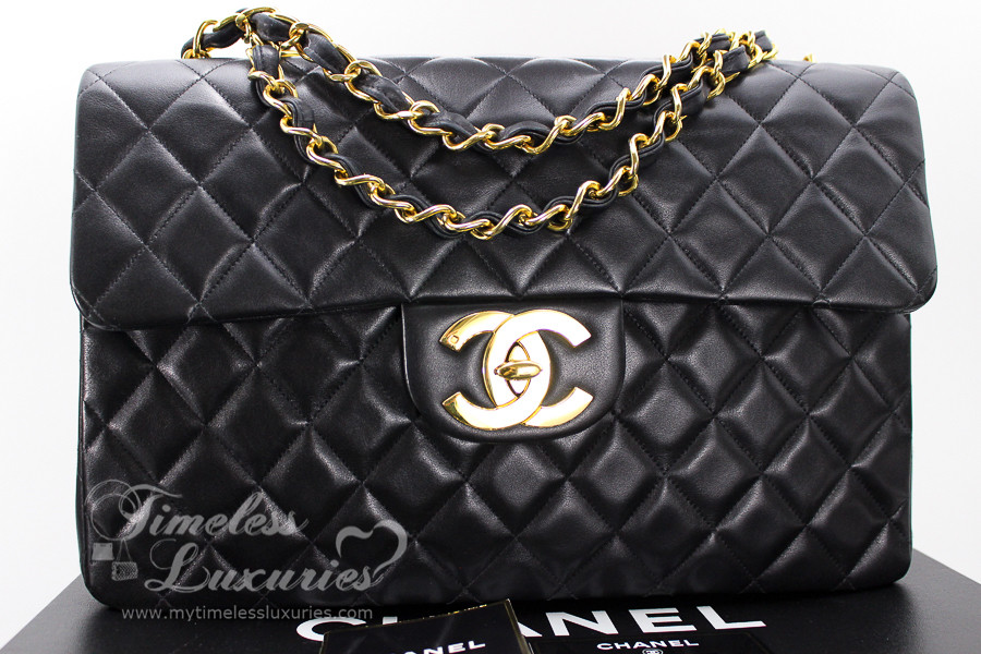 7c83a29118e0 CHANEL Black Vintage Jumbo XL/ Maxi Classic Flap Bag Gold Hw #3802936 -  Timeless Luxuries