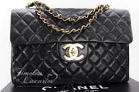 CHANEL Black Vintage Jumbo XL/ Maxi Classic Flap Bag Gold Hw #3802936