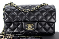 CHANEL Black Lambskin Rectangle Mini Flap Lt Gold Hw #23380975