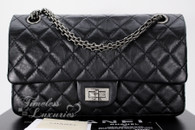 CHANEL Black Aged Calf 2.55 Reissue Flap Bag 225 Ruthenium Hw #13248827