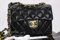 CHANEL Black Lambskin Square Mini Classic Flap Bag Gold Hw #3018775