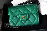 CHANEL 18S Emerald Green Caviar XL Card Holder with Back Pocket #25824494