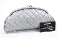 CHANEL Silver Lambskin Timeless Clutch Silver Hw #17193129