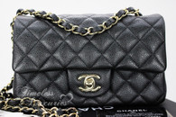 CHANEL 18S Pearly Grey Caviar Rectangle Mini Light Gold Hw #25706993