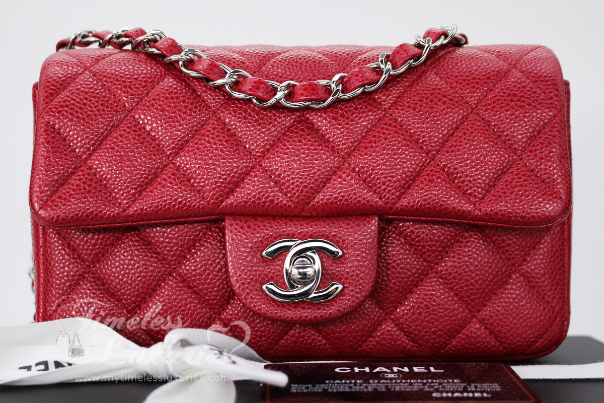 097e4ba1253834 CHANEL 15C Pearly Dk Pink (Red) Caviar Rectangle Mini Silver Hw #20630339 -  Timeless Luxuries