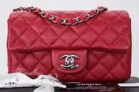 CHANEL 15C Pearly Dk Pink (Red) Caviar Rectangle Mini Silver Hw #20630339