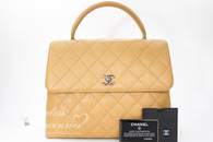 CHANEL Beige Caviar Quilted Jumbo Kelly Flap Bag Gold Hw #8421964