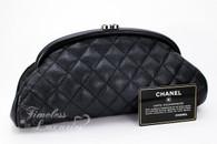CHANEL Black Caviar Timeless Clutch Bag Silver Hw #12179798