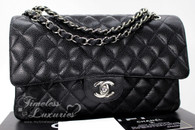 CHANEL Black Caviar Classic Double Flap Bag Silver Hw #13179104