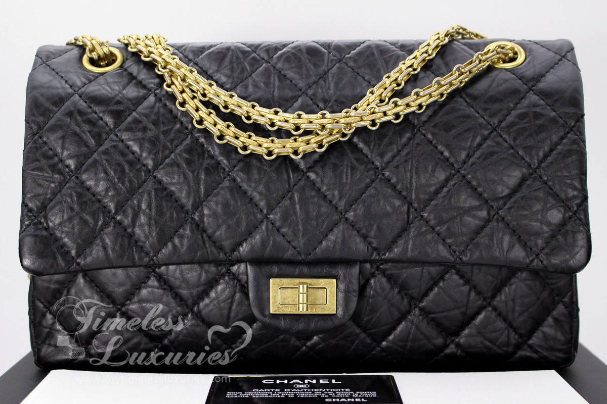 12f07839a313 CHANEL Black Aged Calf 2.55 Reissue Flap Bag 226 Gold Hw #14508450 - Timeless  Luxuries
