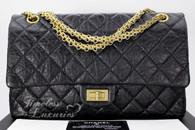 CHANEL Black Aged Calf 2.55 Reissue Flap Bag 226 Gold Hw #14508450
