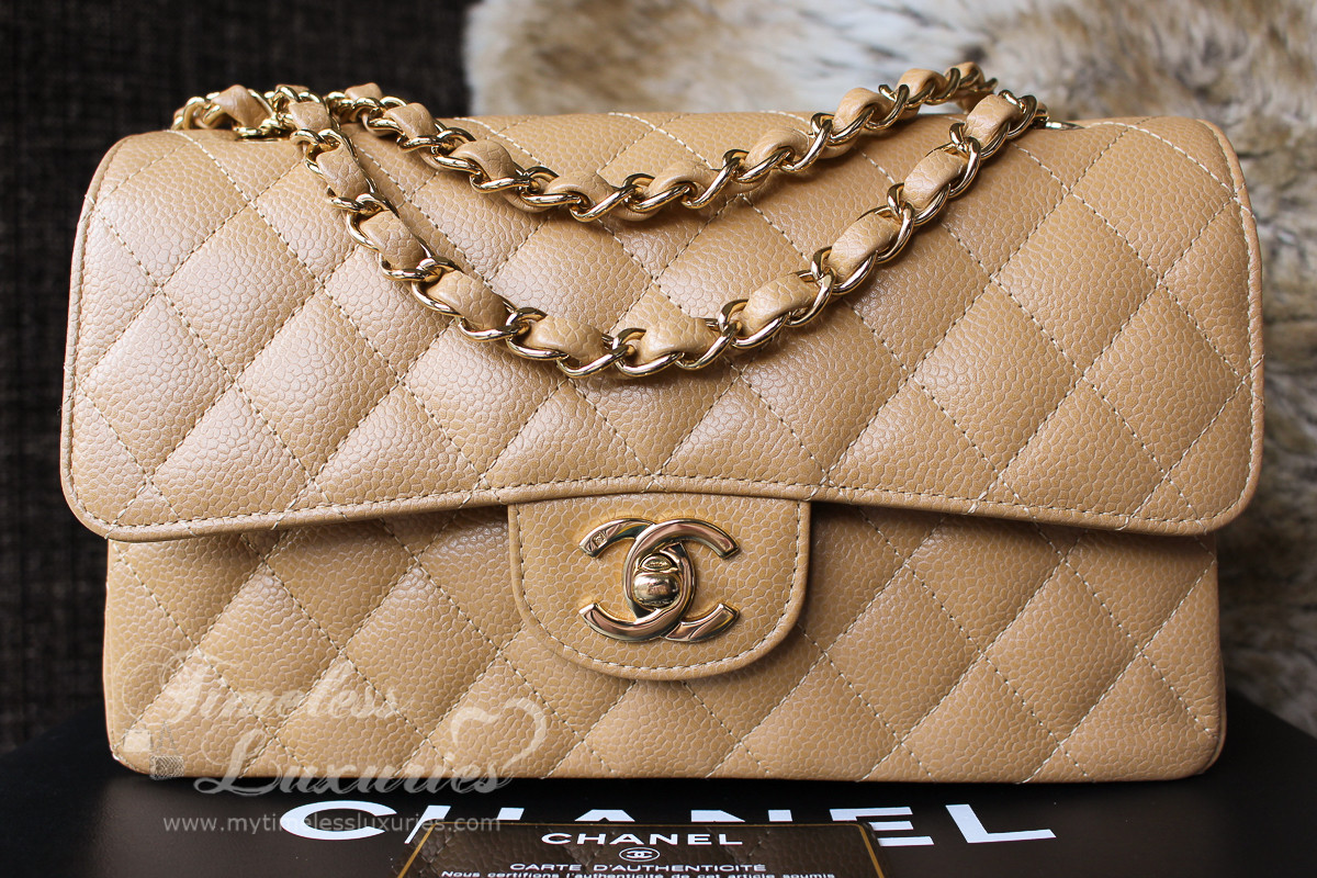 38511b763434 CHANEL Dk Beige Caviar Classic Double Flap Bag Gold Hw #9856413 - Timeless  Luxuries