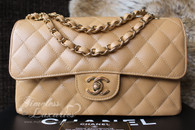 CHANEL Dk Beige Caviar Classic Double Flap Bag Gold Hw #9856413