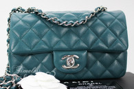 CHANEL 18B Dk Turquoise Caviar Rectangle Mini Silver Hw #26398070 *New