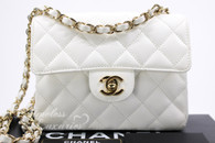 CHANEL White Caviar Square Mini Classic Flap Bag Gold Hw #8652768