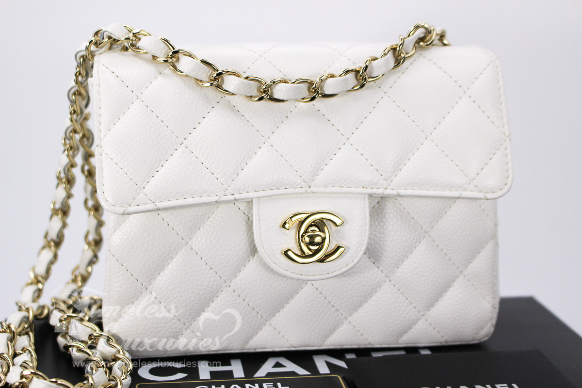 aca8ec21df4de1 CHANEL White Caviar Square Mini Classic Flap Bag Gold Hw #8652768 -  Timeless Luxuries