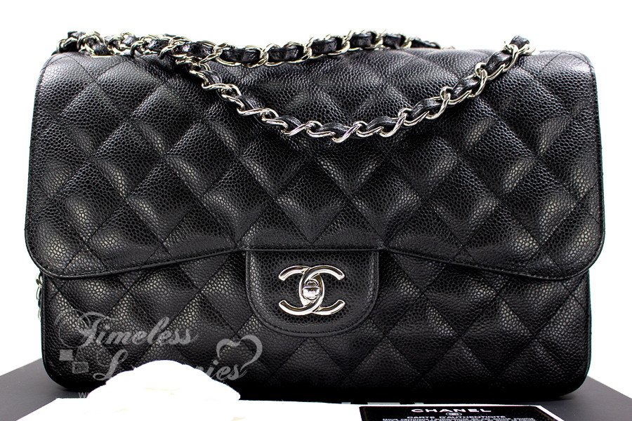 3cd66644321b CHANEL Black Caviar Jumbo Classic Double Flap Silver Hardware  19748414 -  Timeless Luxuries