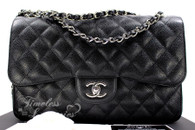 CHANEL Black Caviar Jumbo Classic Double Flap Silver Hardware #19748414