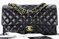 CHANEL Black Lambskin Classic Double Flap Bag Gold Hw #19190164