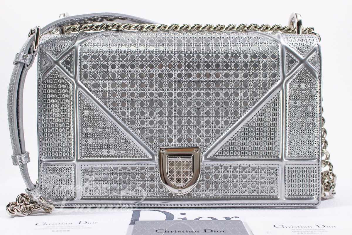 57201420551a CHRISTIAN DIOR Diorama Micro-cannage Silver Metallic Calfskin Medium -  Timeless Luxuries