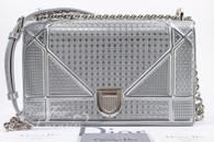 CHRISTIAN DIOR Diorama Micro-cannage Silver Metallic Calfskin Medium