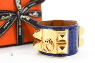 HERMES Bleu Electrique Alligator CDC Collier De Chien Bracelet S *New