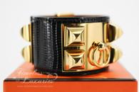 HERMES Black Lizard Skin CDC Collier De Chien Bracelet S