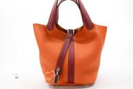 HERMES Picotin Touch Lock 18 Orange Clemence/ Rouge Grenat Swift PHW *New