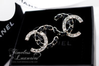 CHANEL 2018 Interlaced Leather & Crystals CC Stud Earrings Black/ Silver *New