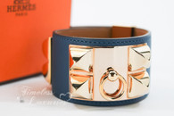HERMES Colvert Swift CDC Collier De Chien Bracelet Rose Gold HW S