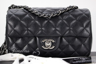 CHANEL Black Caviar Rectangle Mini Flap Bag Ruthenium Hw #21843213
