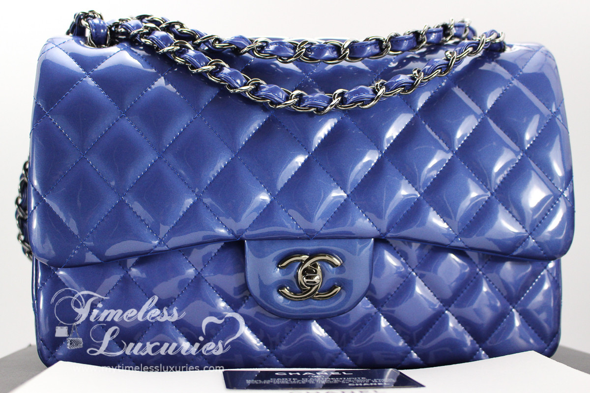 65e33606c7a3 CHANEL Blue Metallic Patent Jumbo Classic Double Flap Bag #17229414 *New -  Timeless Luxuries