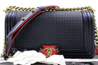 CHANEL 14C Boy Cube Navy Blue/ Red Lambskin Gold Hw #18887154