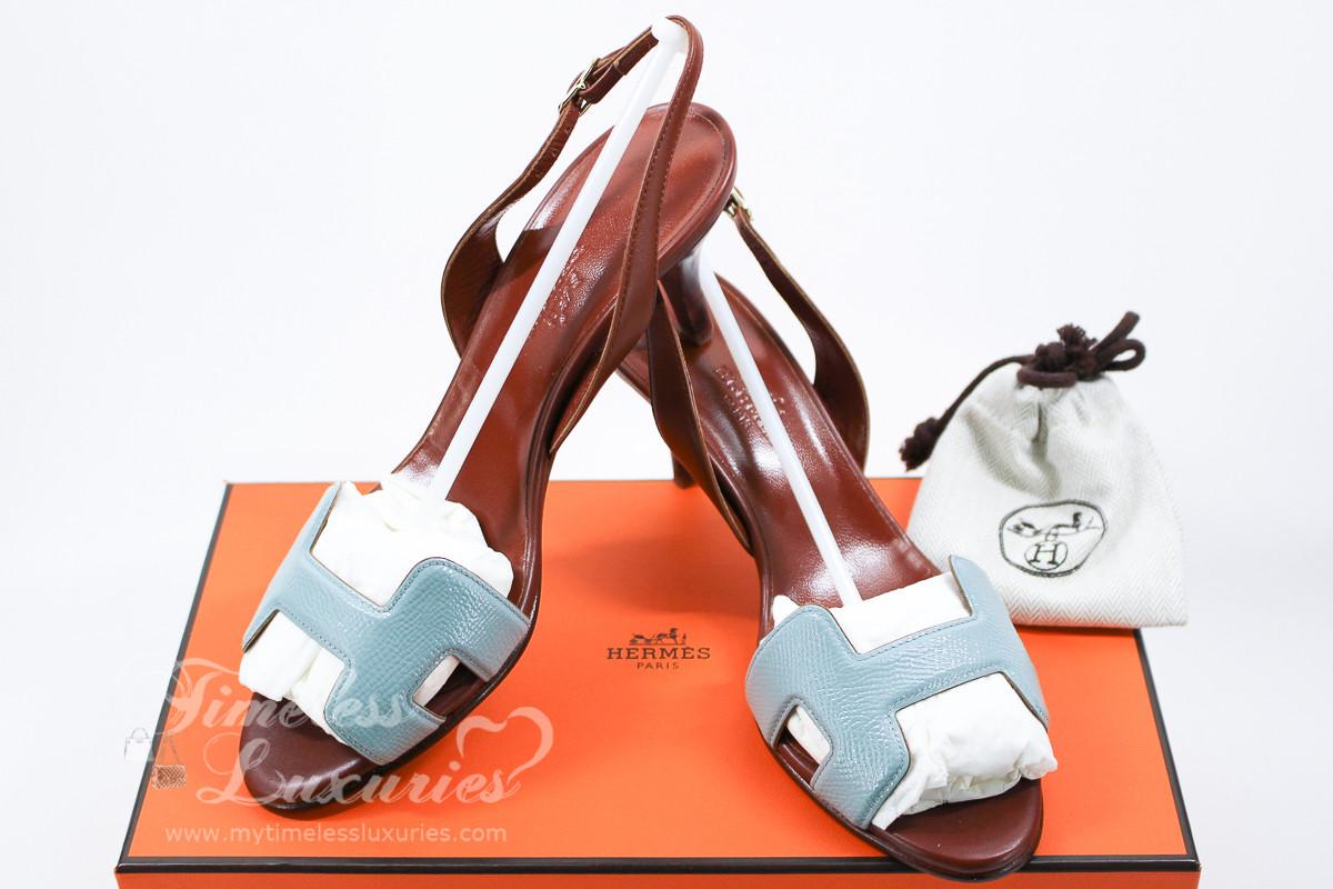 545111e5f1e HERMES Night 70 Slingback Heels Ciel Patent Epsom/ Brown Leather 35 ...