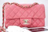 CHANEL 2018 Pearly Pink Caviar Rectangle Mini Lt Gold Hw #25xxxxxx *New