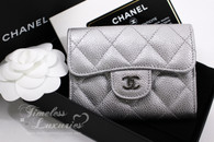 CHANEL 17S Silver Caviar XL Card Holder with Back Pocket #24012225 *New